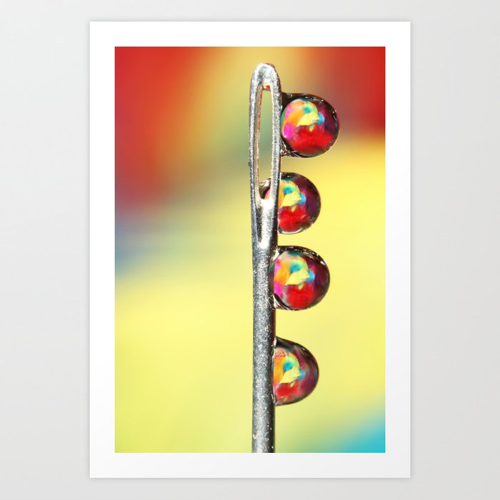 Needle with Feather Droplets Art Print