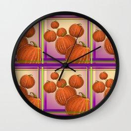 Pumpkin Plaid Wall Clock