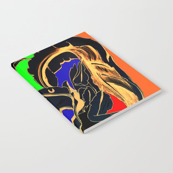 Blue Green Orange Black and Gold, Stand Up Red Notebook