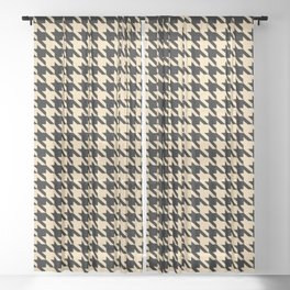 Black and Tan Classic houndstooth pattern Sheer Curtain