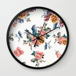 Retro design in English Victorian floral style Wall Clock