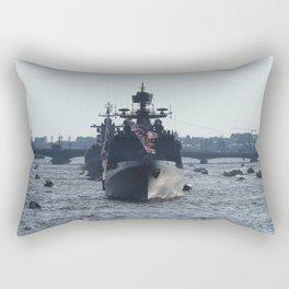 Russian Navy Battleships on Neva River. Rectangular Pillow