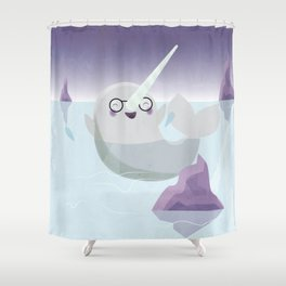 Norman the Near-Sighted Narwhal Shower Curtain