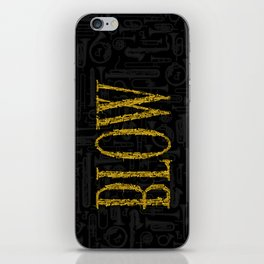 Blow BLACK & GOLD / Horn instruments forming type and background iPhone Skin