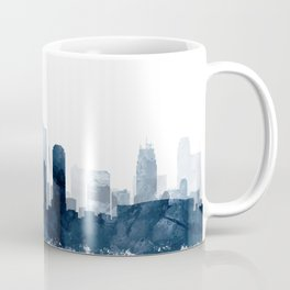 Kansas City Skyline Blue Watercolor by Zouzounio Art Coffee Mug
