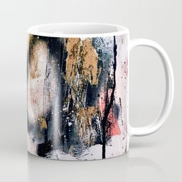 Lightning Soul: a vibrant colorful abstract acrylic, ink, and spray paint in gold, black, pink Coffee Mug