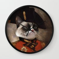 general Wall Clocks featuring Angry cat. Grumpy General Cat.  by UiNi