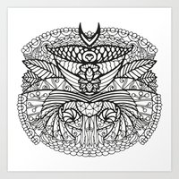 ornate elephant Art Prints featuring Ornate by RifKhas