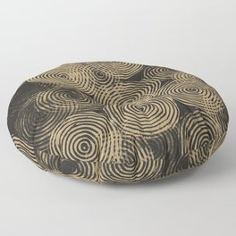 Radial Block Print in Charcoal and Gold Floor Pillow