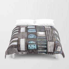 Gray Facade with Lighted Windows Duvet Cover