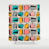 mid century modern Shower Curtains featuring Mid-Century Modern Abstract #11 by Kippygirl