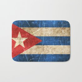 Vintage Aged and Scratched Cuban Flag Bath Mat