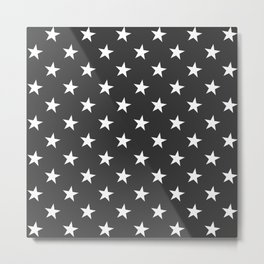 Black White Stars Metal Print