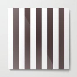 Dark puce purple - solid color - white vertical lines pattern Metal Print