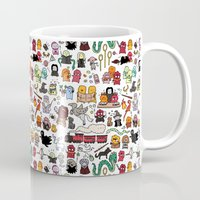 harry potter Mugs featuring Kawaii Harry Potter Doodle by KiraKiraDoodles