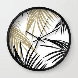 Gold Black Palm Leaves Dream #1 #tropical #decor #art #society6 Wall Clock