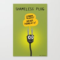 shameless Canvas Prints featuring Shameless Plug by David Kantrowitz