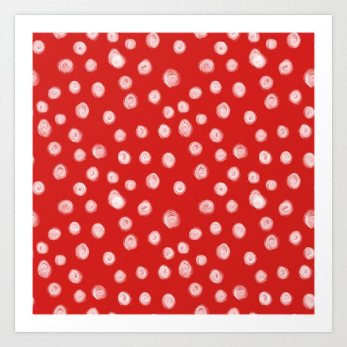 Basic red and white dots love valentines day minimal polka dot pattern Kunstdrucke
