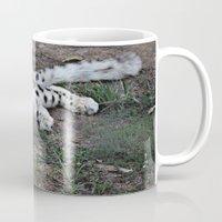 snow leopard Mugs featuring Snow Leopard by Kaleena Kollmeier