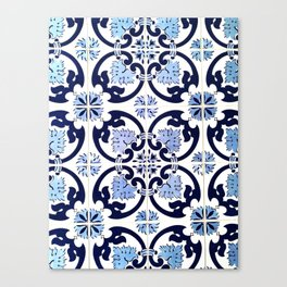 Azulejos, moroccan tiles, Painted tiles, blue, white, portugal Canvas Print