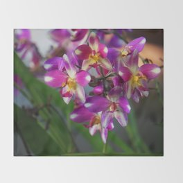 Mom's Magenta Grass Orchids Throw Blanket