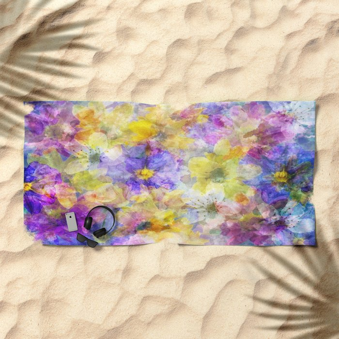Multicolor Painterly Floral Abstract Beach Towel