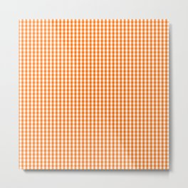 Dark Pumpkin Orange and White Gingham Check Pattern Metal Print