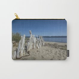 Wooden posts on the sandy beach of Douglastown. Gaspésie, Québec, Canada. Carry-All Pouch