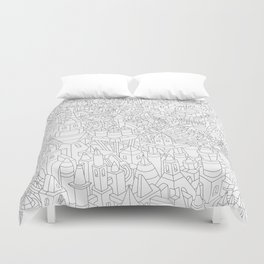 TWO BEAST BOTS TRASHING CANDY TOWN Duvet Cover