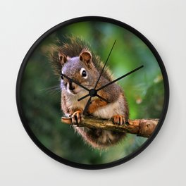 Who, Me? A Saucy Red Squirrel Wall Clock