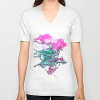 teal V-neck T-shirts featuring Teal by Kat Aviles