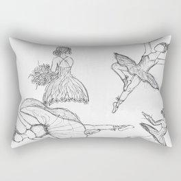 Black and White Ballerinas Rectangular Pillow