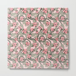 Pink Floral Bliss with Acanthus Leaves and Dogwood Flowers Metal Print