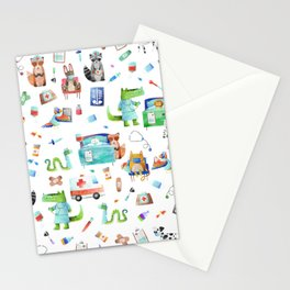 Cute Animal Hospital Watercolor Doctor Pattern Stationery Cards