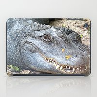 crocodile iPad Cases featuring Crocodile by Laura Grove