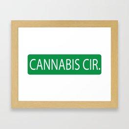 Cannabis Circle Street Sign Framed Art Print