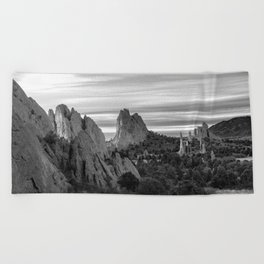 Garden of the Gods - Colorado Springs Landscape in Black and White Beach Towel