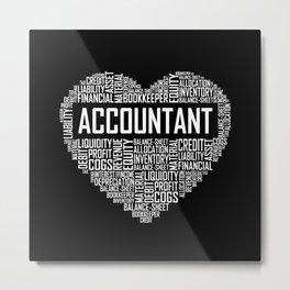Accountant - Heart Metal Print