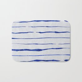 Blue Wiggly Stripes Pattern Bath Mat