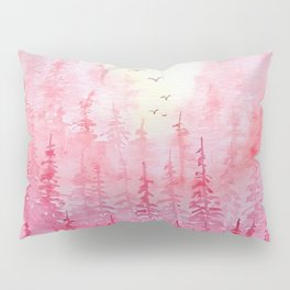 """Red Autumn Hills"" watercolor landscape illustration Pillow Sham"