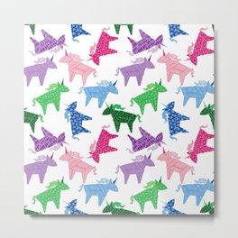 Origami Unicorns Metal Print