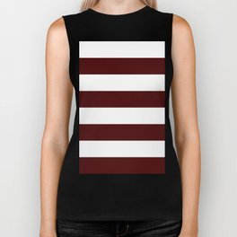 Wide Horizontal Stripes - White and Bulgarian Rose Red Biker Tank