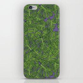 monstera leaves green purple iPhone Skin