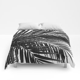 Tropical Palm Leaves - Black and White Nature Photography Comforters