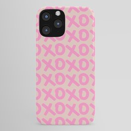 XOXO Print Peach And Pink Hugs And Kisses Minimalistic Wall Art XOXO Pattern Preppy Modern Decor iPhone Case