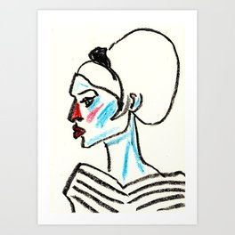 perfil girl with a red nose Art Print