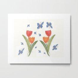 Tulipes et papillons en dentelle Metal Print