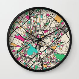 Colorful City Maps: Athens, Greece Wall Clock