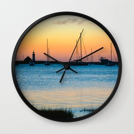 Scituate Lighthouse Silhouette Wall Clock