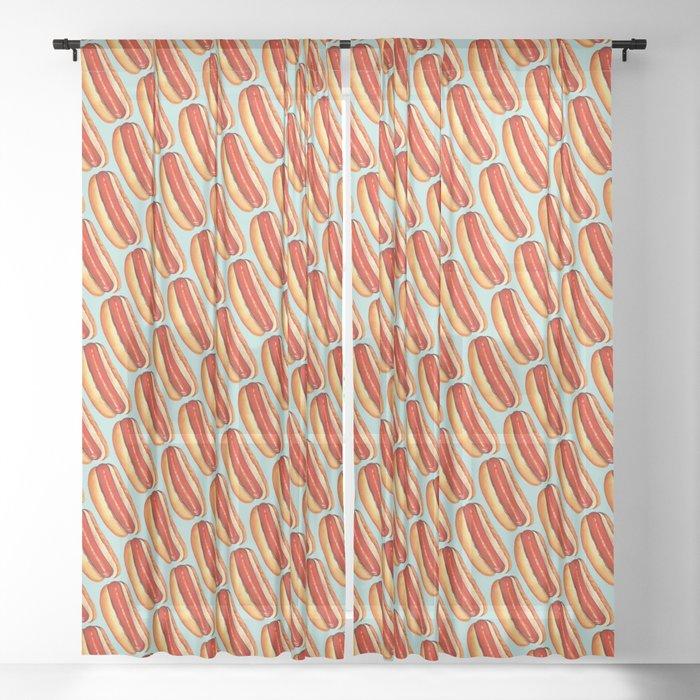 Hot Dog Pattern Sheer Curtain